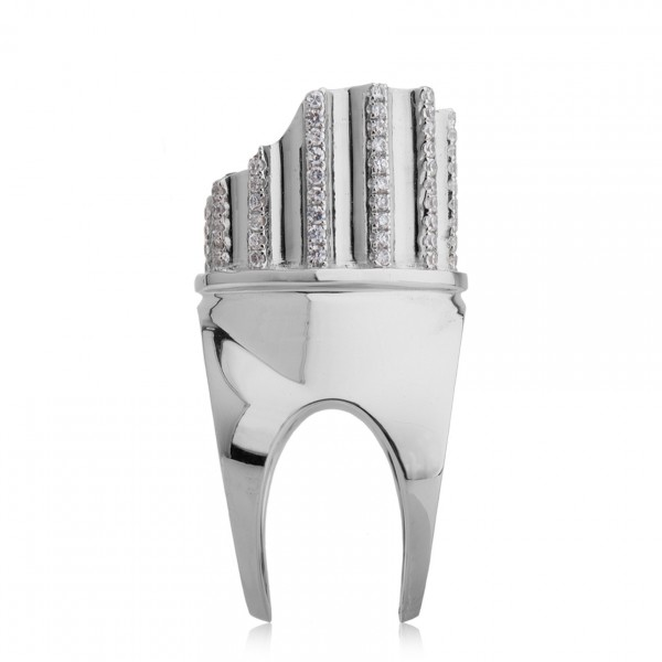 Incomplete Column Ring White Gold by Completedworks