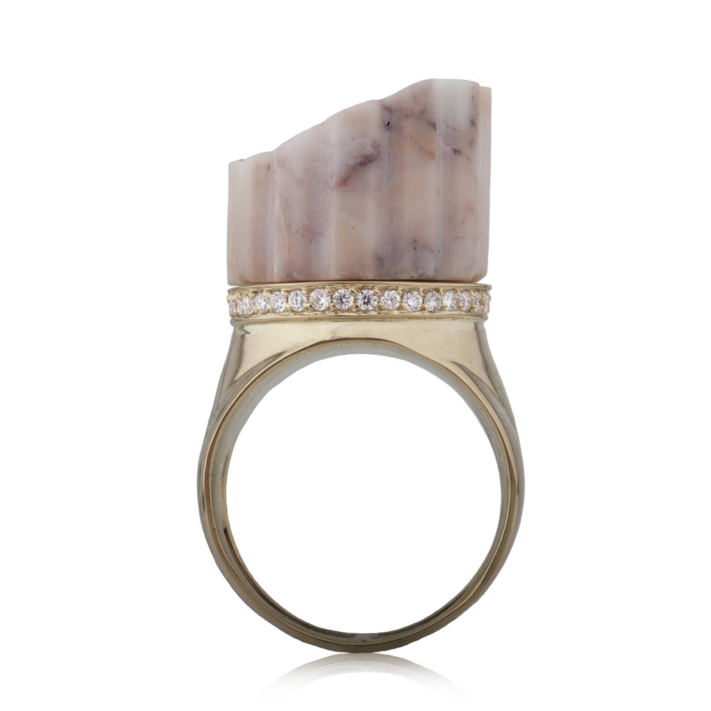 Incomplete Column Ring Pink Marble by Completedworks