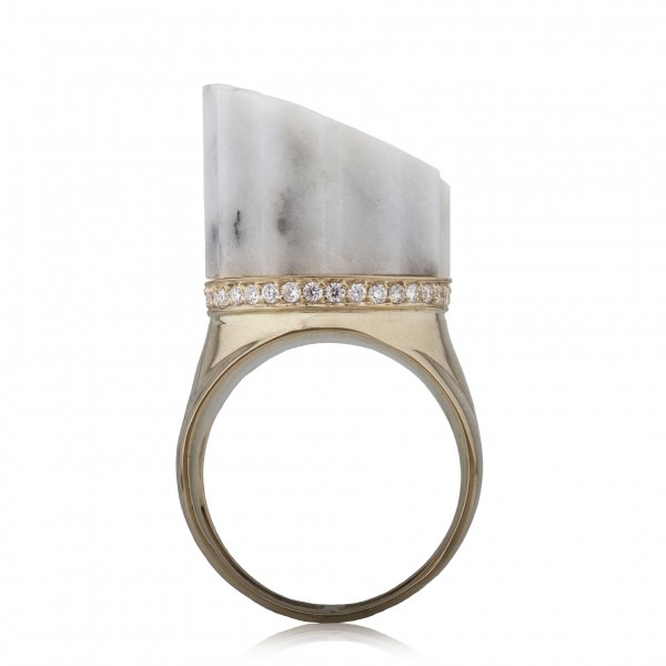 Incomplete Column Ring White Marble by Completedworks