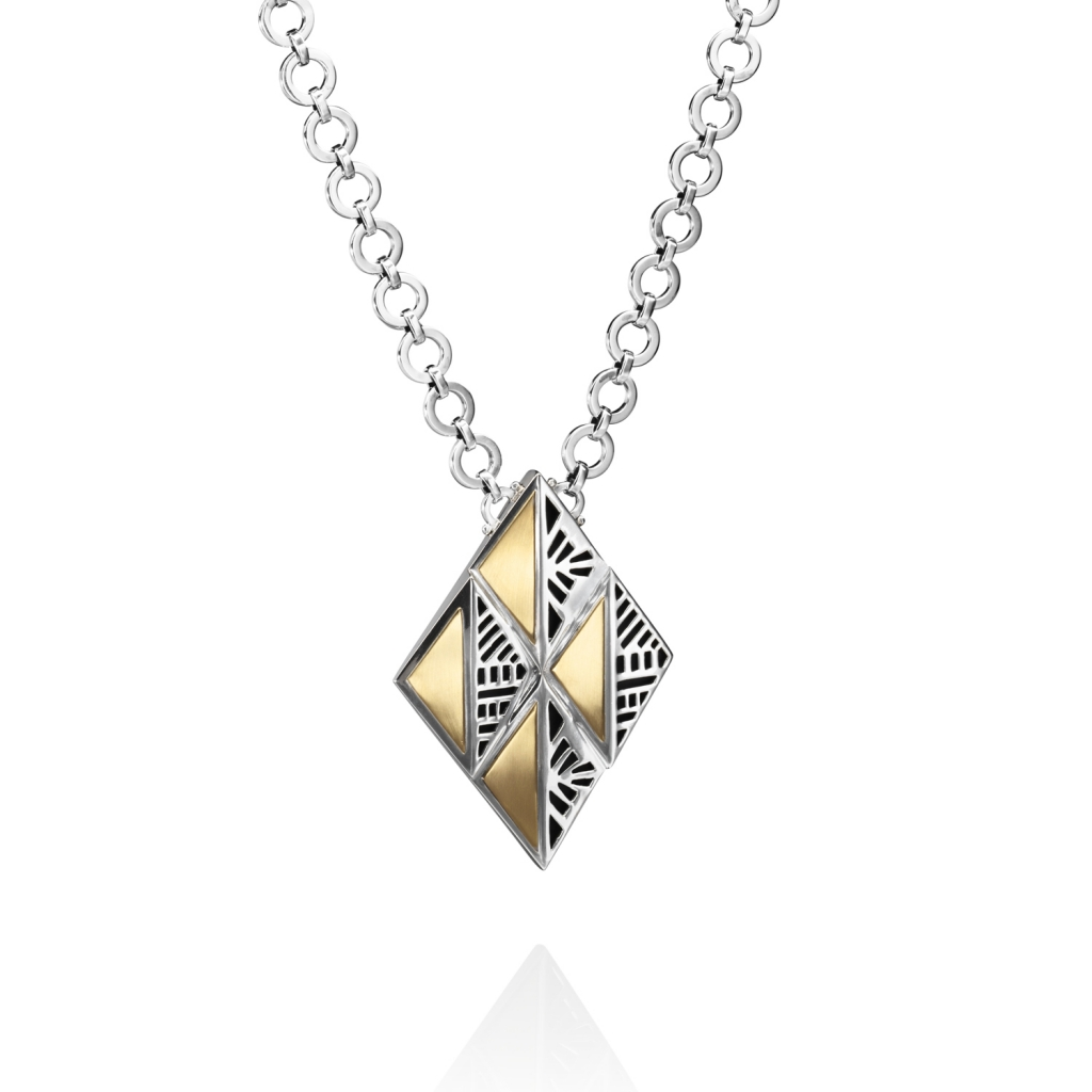 Architectural Necklace – Gold and Silver Long by Azza Fahmy
