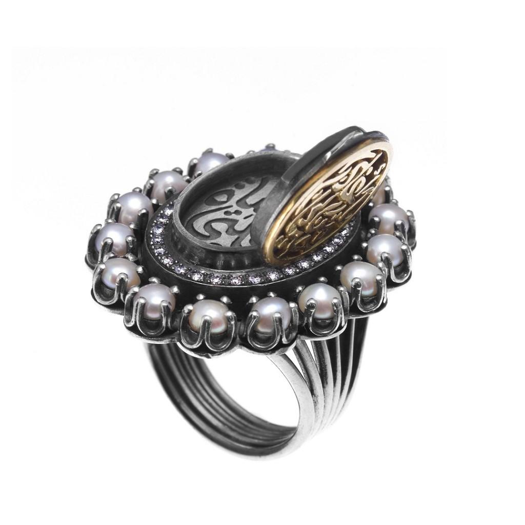 Cameo Locket Ring by Azza Fahmy