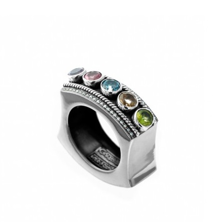 Diamond and Calligraphy Ring by Azza Fahmy