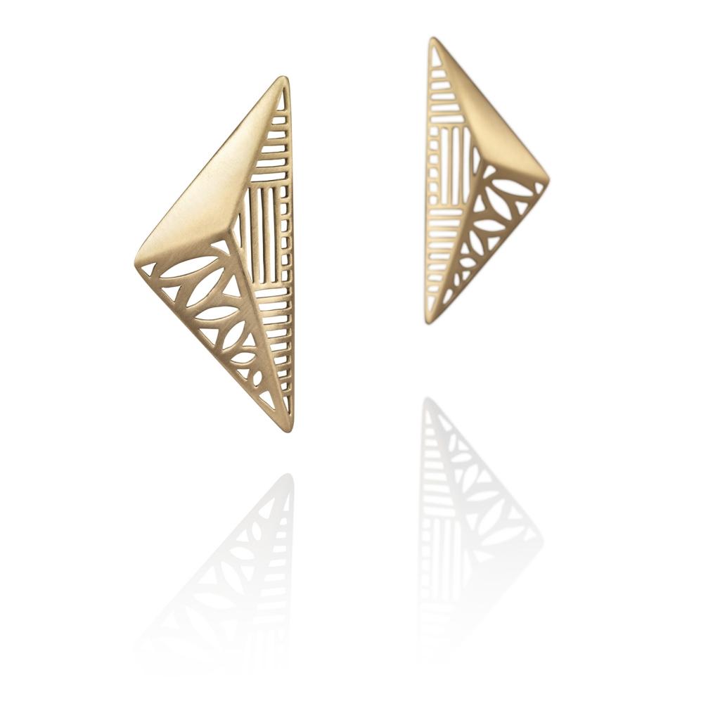 Sculpture Earrings Gold by Azza Fahmy