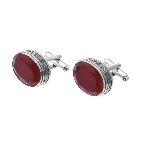 Sterling Silver Oval Cufflinks with Brown Onyx by Azza Fahmy