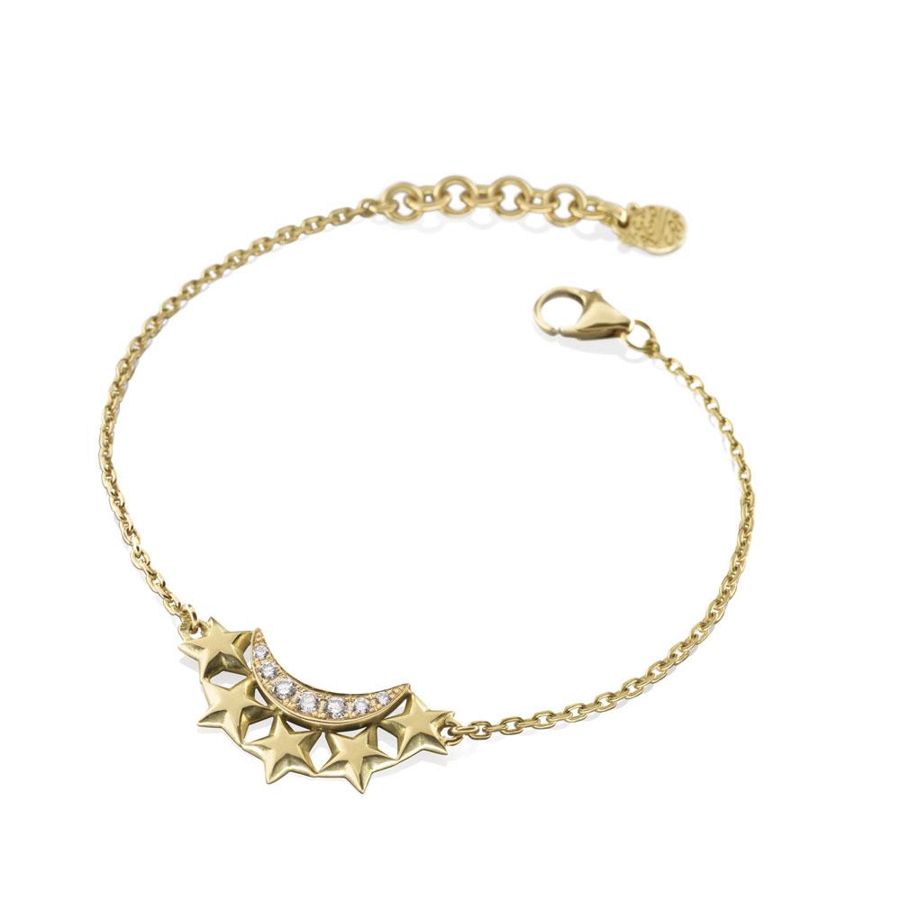 Diamond Moon Star Bracelet by Azza Fahmy