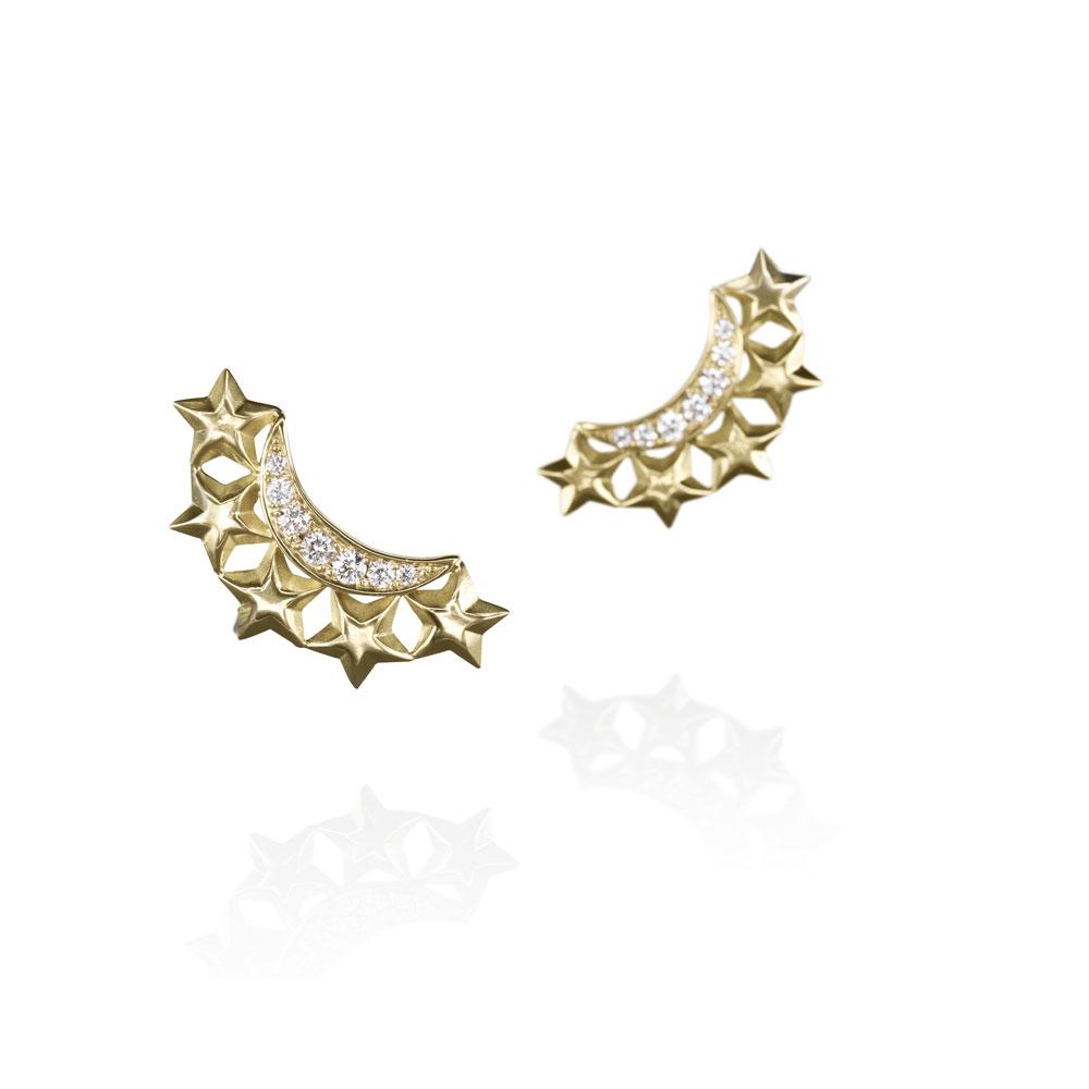 Diamond Moon Star Earrings by Azza Fahmy