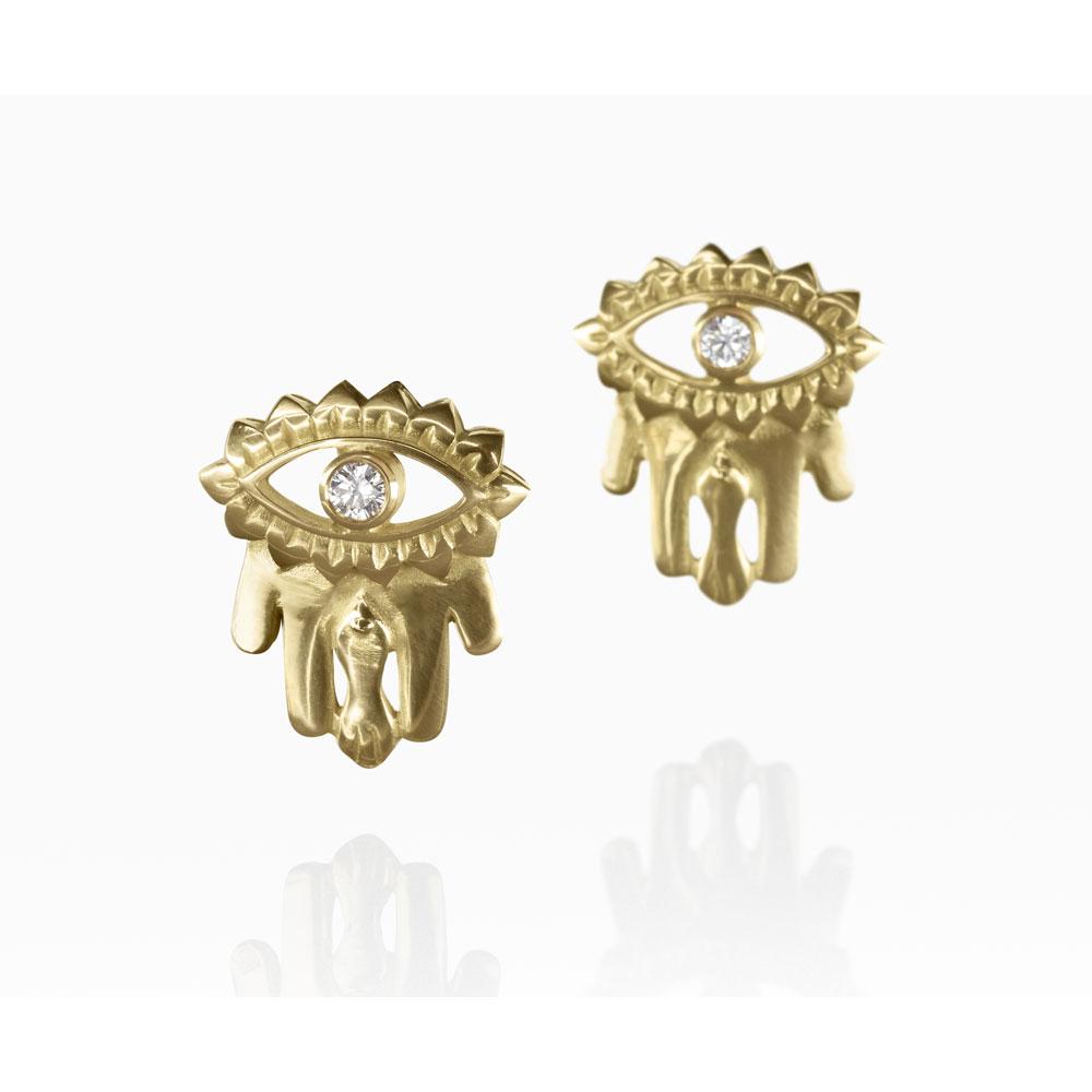 Hand of Fatima Earrings by Azza Fahmy