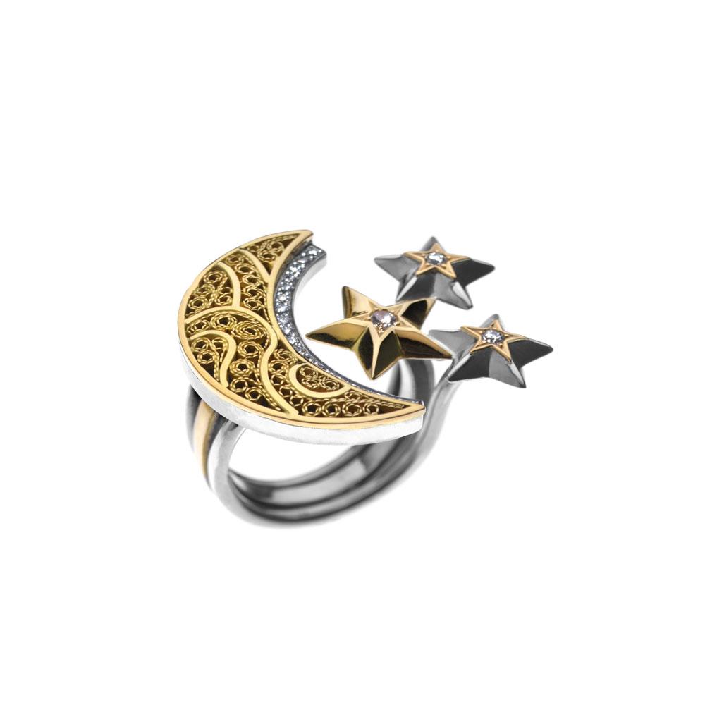 Diamond Crescent Star Ring by Azza Fahmy