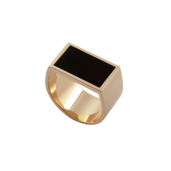 Flat Plate Pinky Ring for Men with Enamel