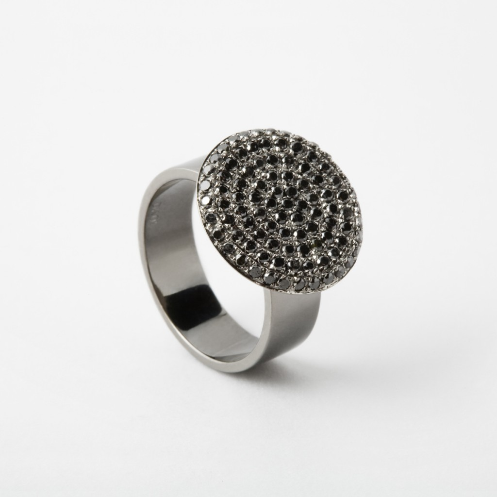 Flat Coin Pinky Ring with Black Diamonds