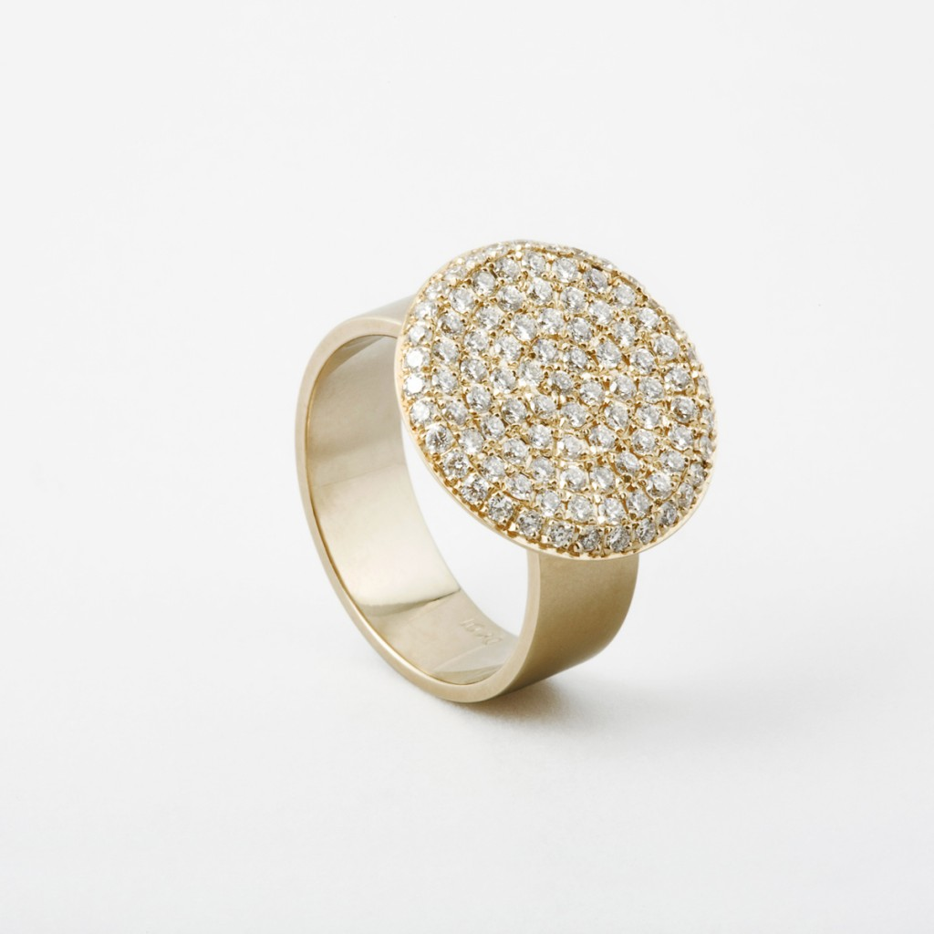 Flat Coin Pinky Ring with Diamond