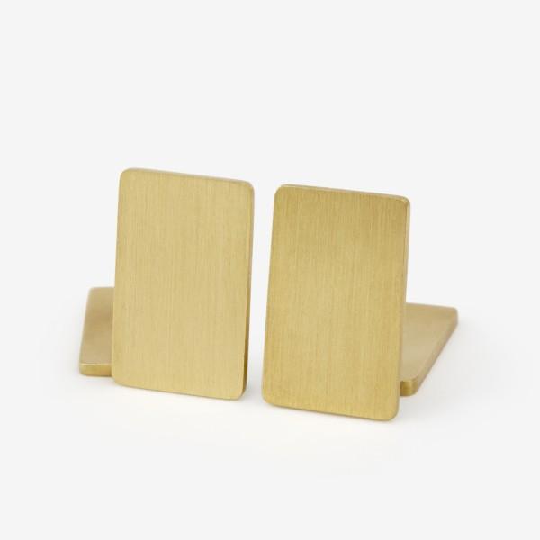 Flat Plate Cufflinks in Brushed Gold