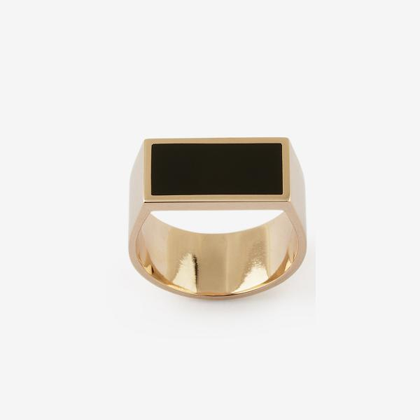 Flat Plate Pink Gold Pinky Ring with Enamel