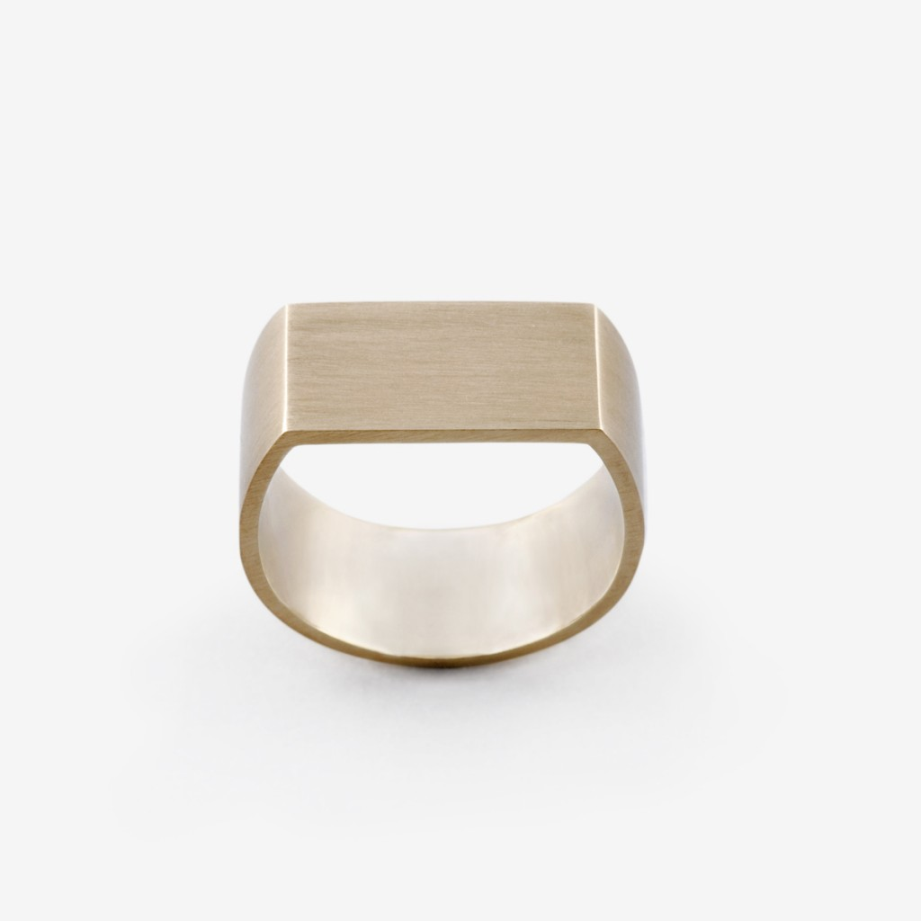 Flat Plate Pinky Ring in Brushed Gold