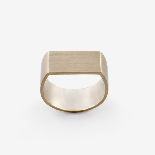 Flat Plate Pinky Ring in Brushed Gold by Dina Kamal