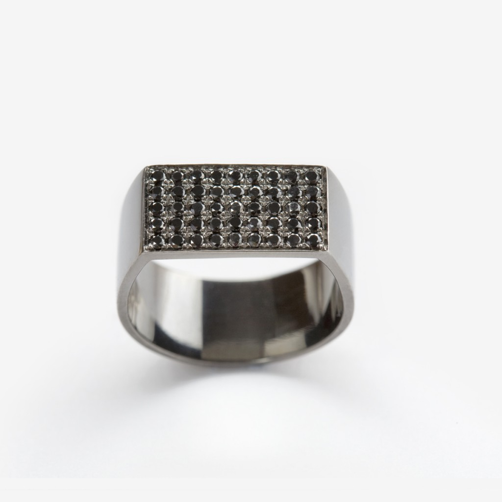 Flat Plate Pinky Ring with Black Diamonds
