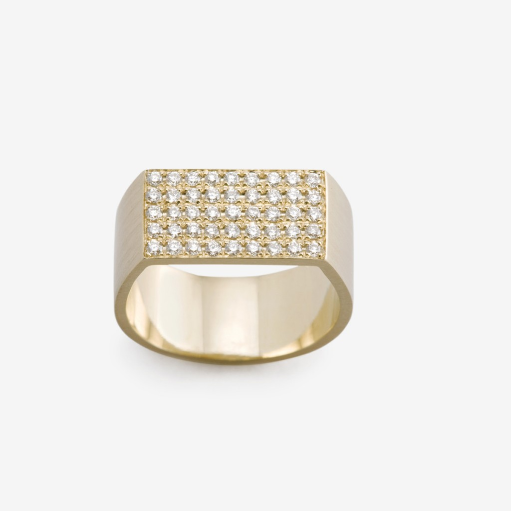 Flat Plate Pinky Ring with Brilliant Cut Diamonds