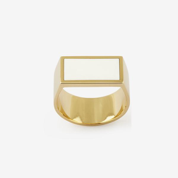 Flat Plate Yellow Gold Pinky Ring with Enamel