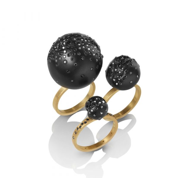 Whitby Jet Ball Ring with Black Diamonds