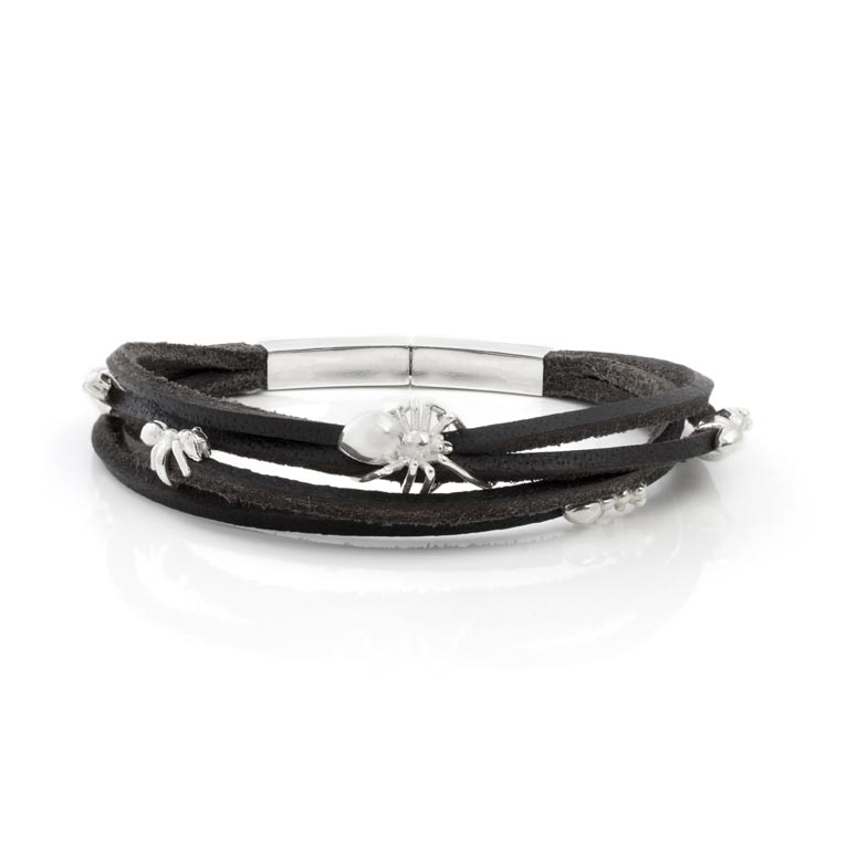 Spider and Ants Leather Wrap Bracelet
