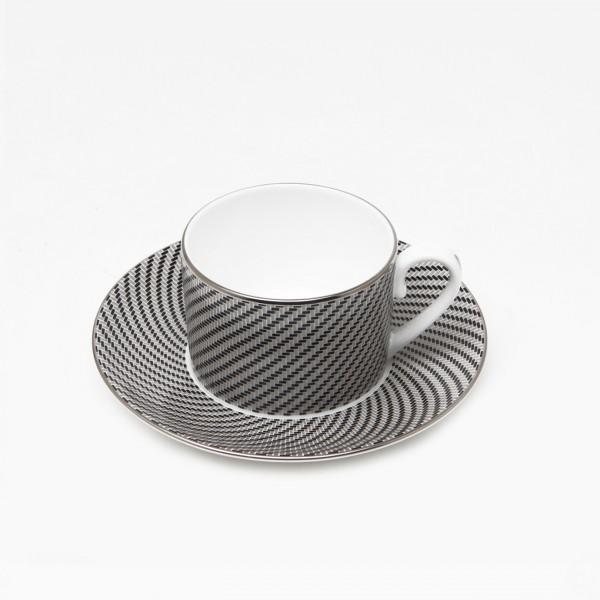Carbon Tea Cup and Saucer