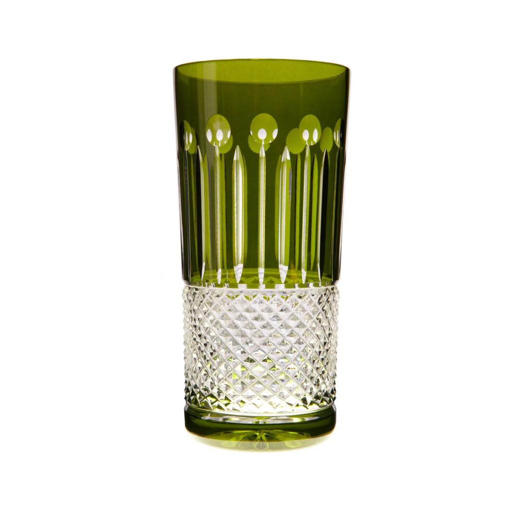 High Ball Glass Set of 6 – Olive Green by Gurasu Crystal