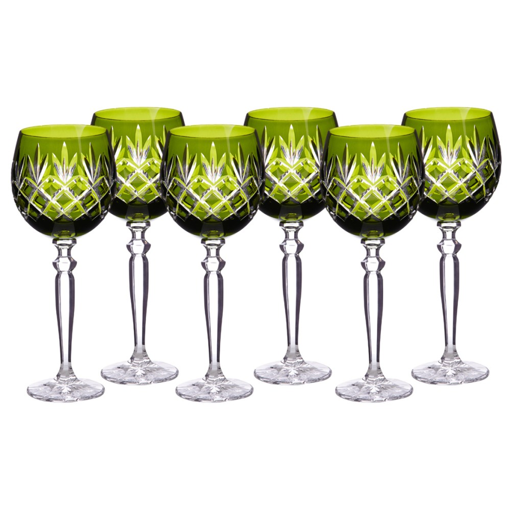 Pure Lux Traditional Wine Goblet Set of Six by Gurasu Crystal