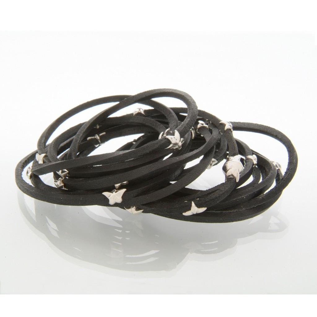 Leather Silver Star Bracelet by Tomasz Donocik