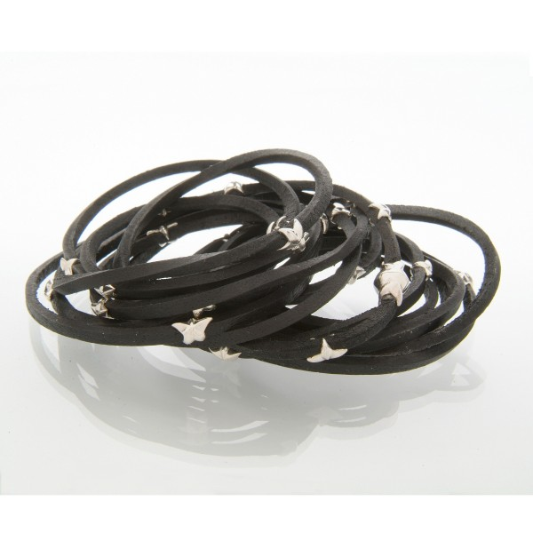 Leather Silver Star Bracelet by Tomasz Donocik