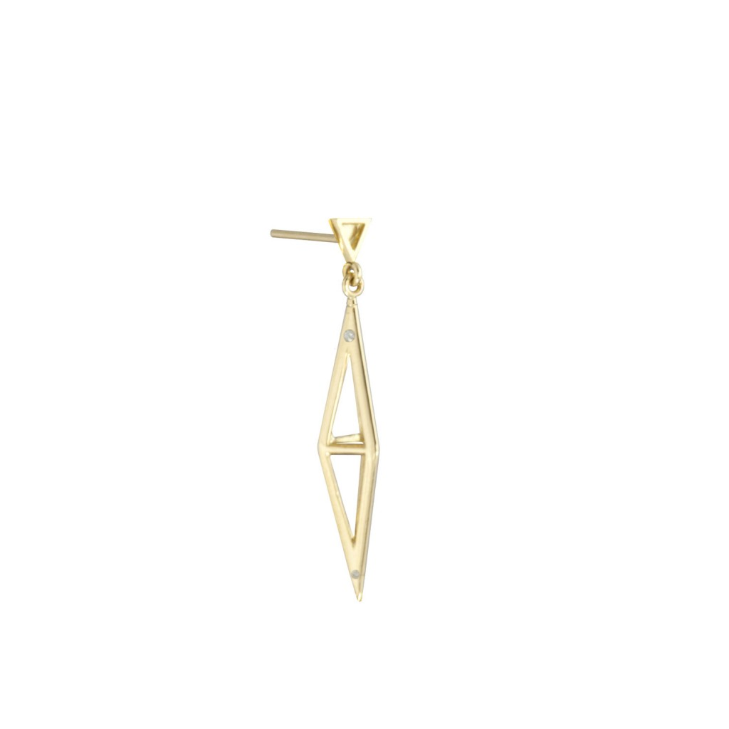 Medium Tetrahedron Pave Earrings