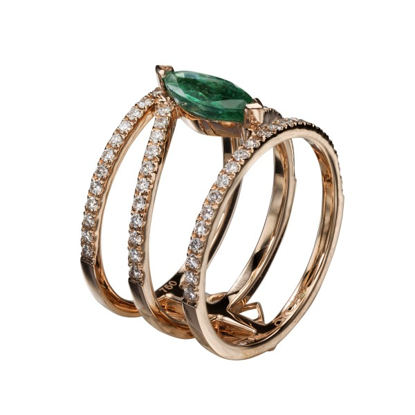Linee Misteriose – Diamond and Emerald Ring