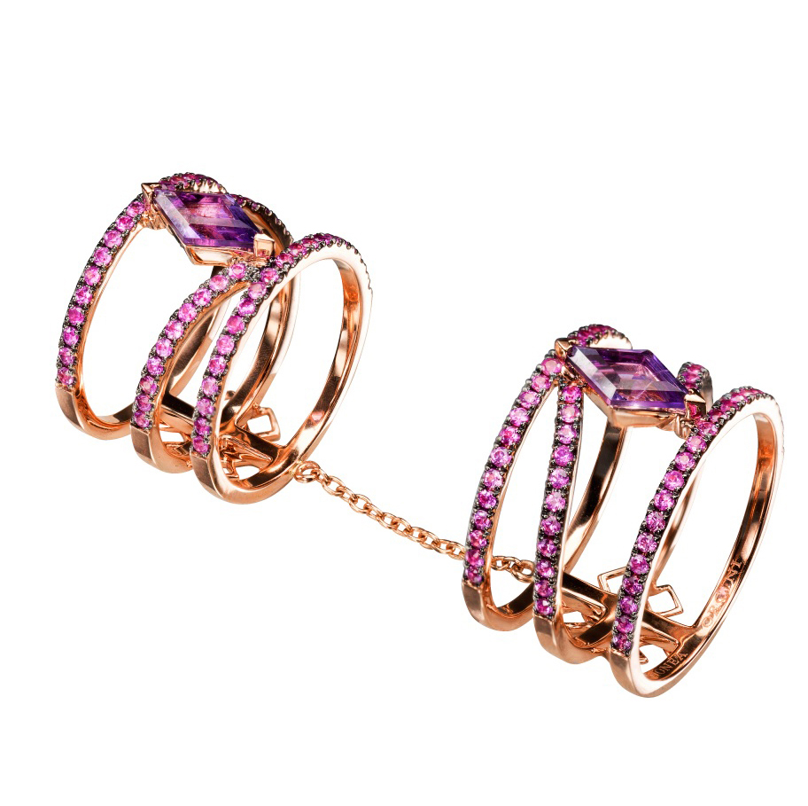 Linee Misteriose – Amethyst and Pink Sapphire Double Ring by Dionea Orcini