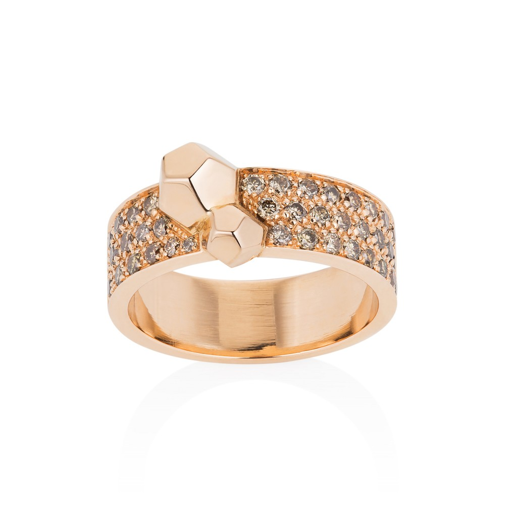 Rock It! Band Ring with Champagne Diamonds by Ornella Iannuzzi