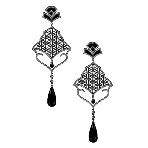 Semiramis – Black Gold Earrings by Dionea Orcini