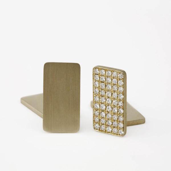 Flat Plate Cufflinks with White Diamonds
