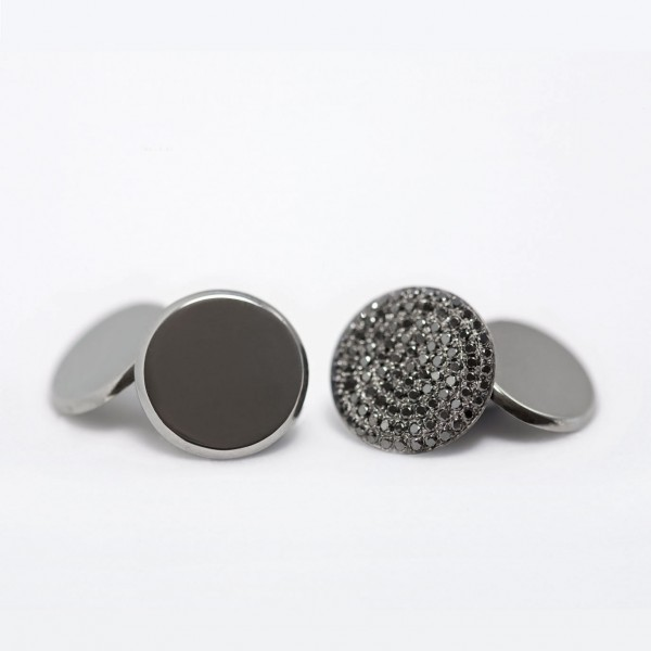 Flat Coin Cufflinks with Black Diamond