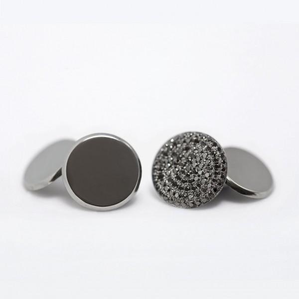 Flat Coin Cufflinks with Black Diamond