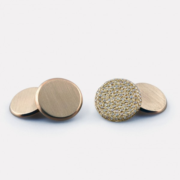 Flat Coin Cufflinks with Champagne Diamonds
