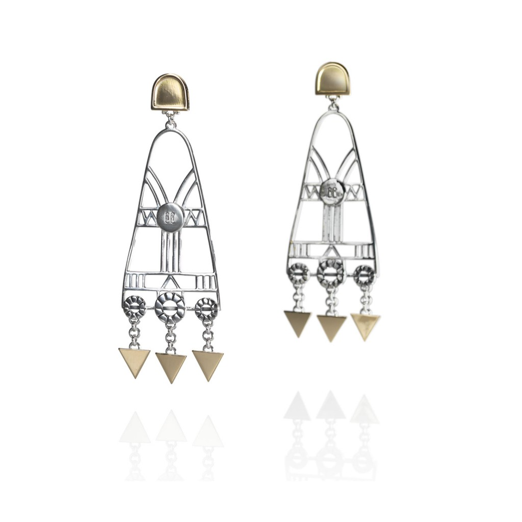 Chandelier Geometric Earrings by Azza Fahmy