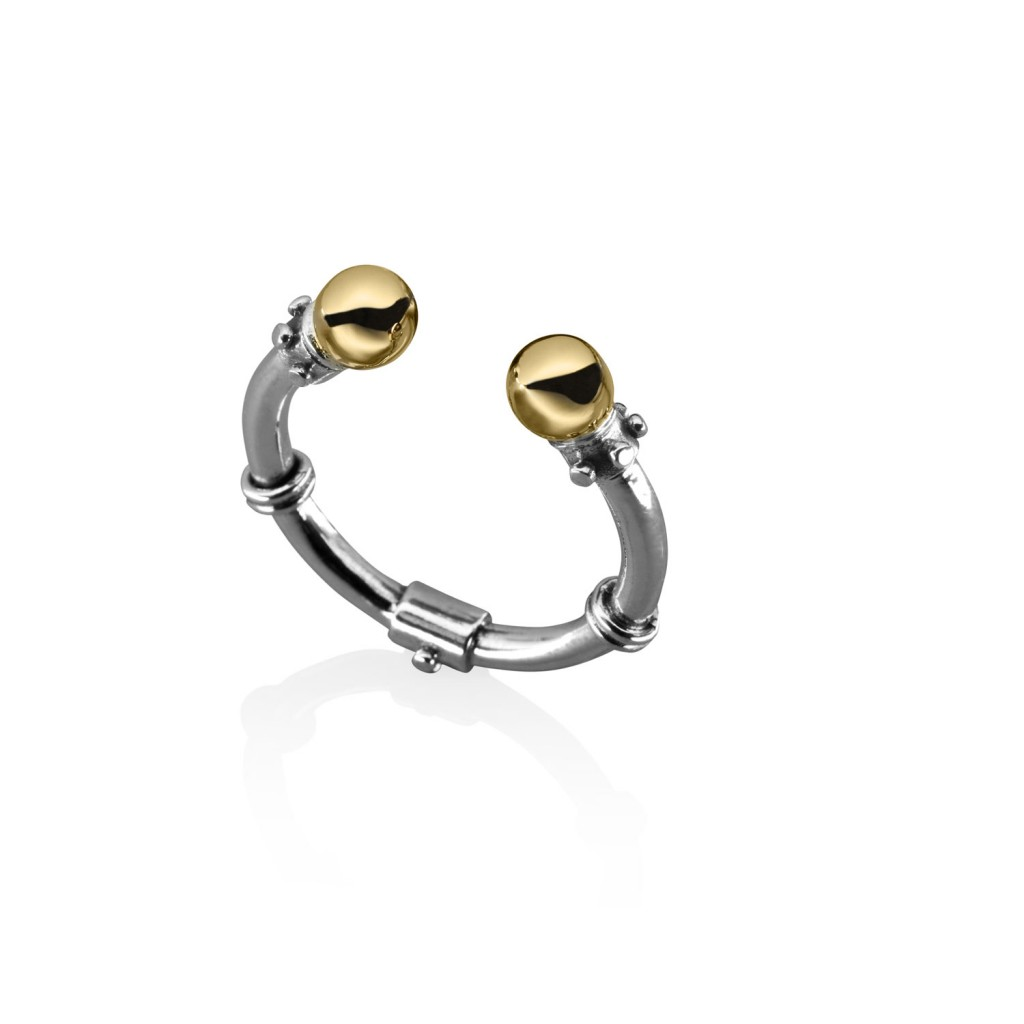 Stackable Silver and Gold Ring by Azza Fahmy