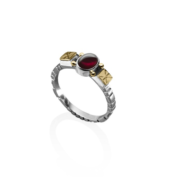 Stackable Geometric Ring with Garnet by Azza Fahmy