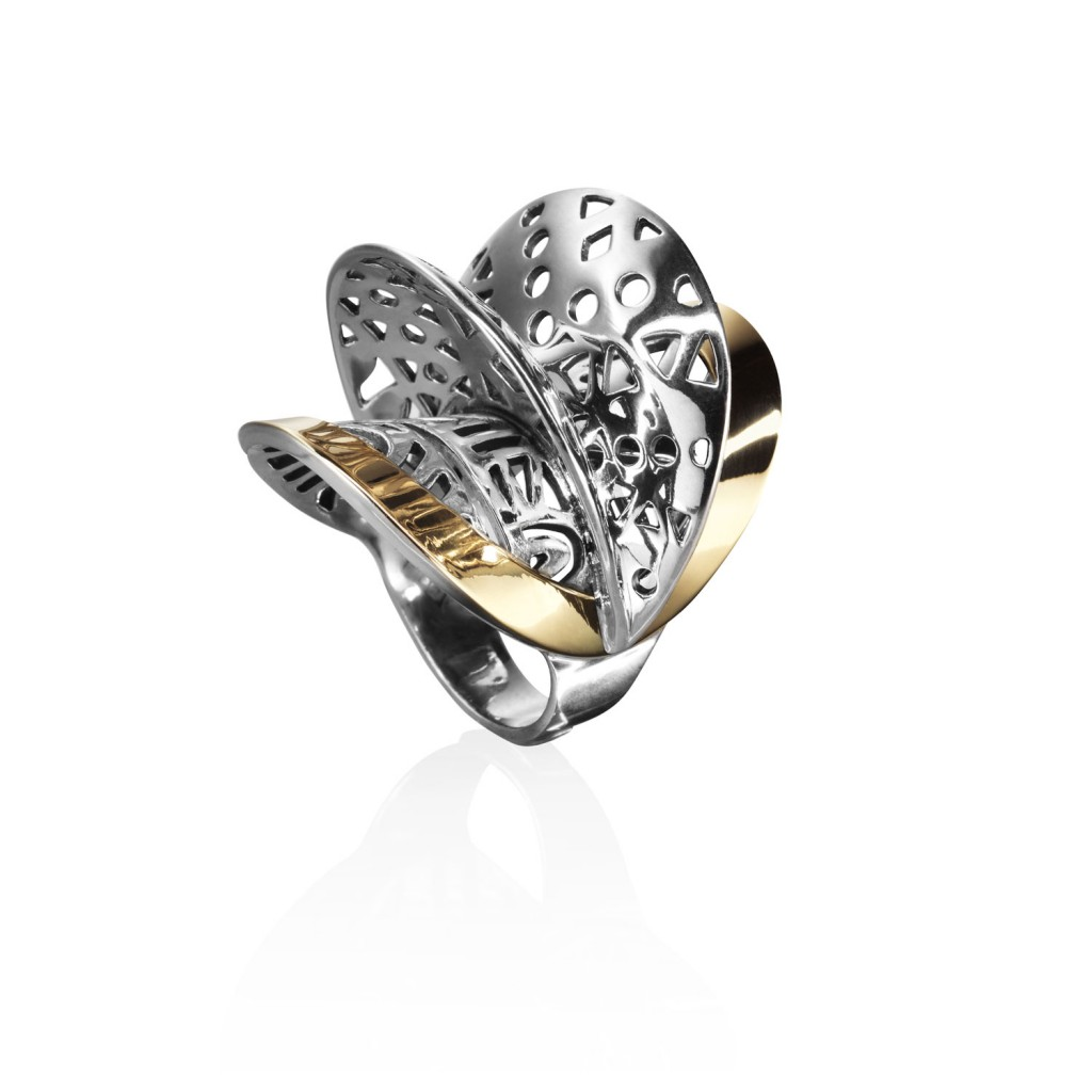 Fulani Silver Gold Ring by Azza Fahmy