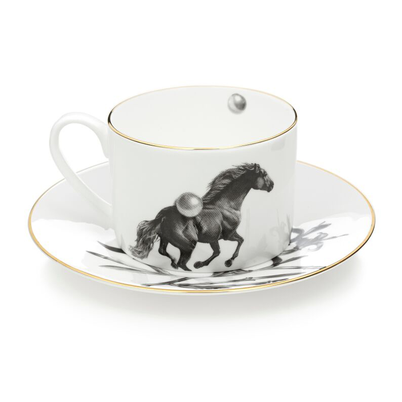Horse Tea Cup and Saucer by Sasha Tugolukova