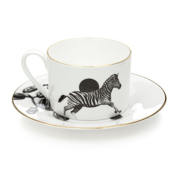 Zebra Tea Cup and Saucer by Sasha Tugolukova