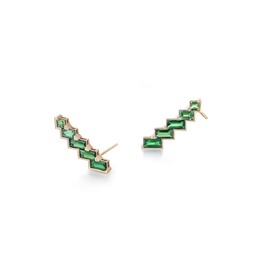 Electric Night – Emerald Horizontal Cuff Earrings by Tomasz Donocik