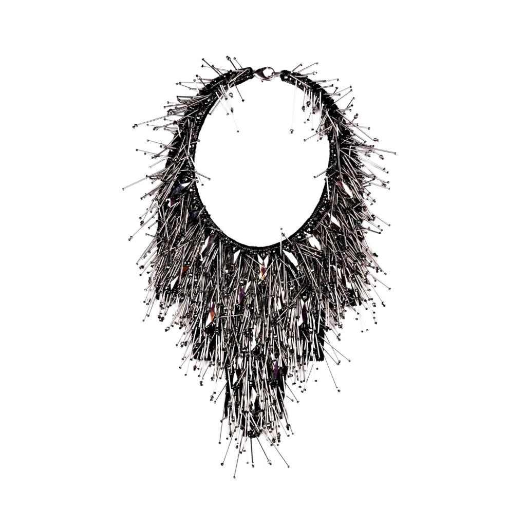 Riviera Statement Necklace – Gunmetal by Begada