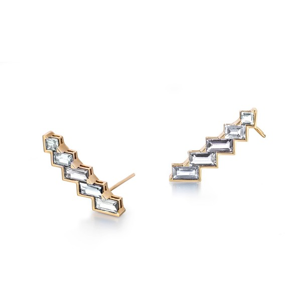 Electric Night – Diamond Horizontal Mini Ear Cuffs by Tomasz Donocik