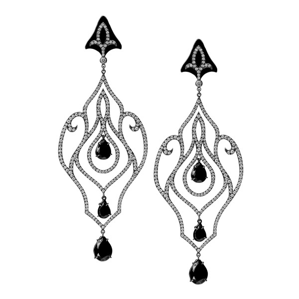 Forbidden Diamond and Black Onyx Earrings by Dionea Orcini