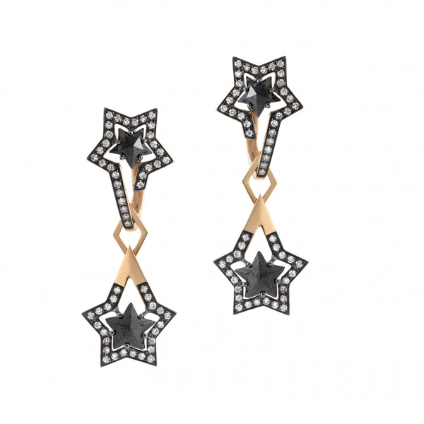 Black Star Drop Earrings by Tomasz Donocik