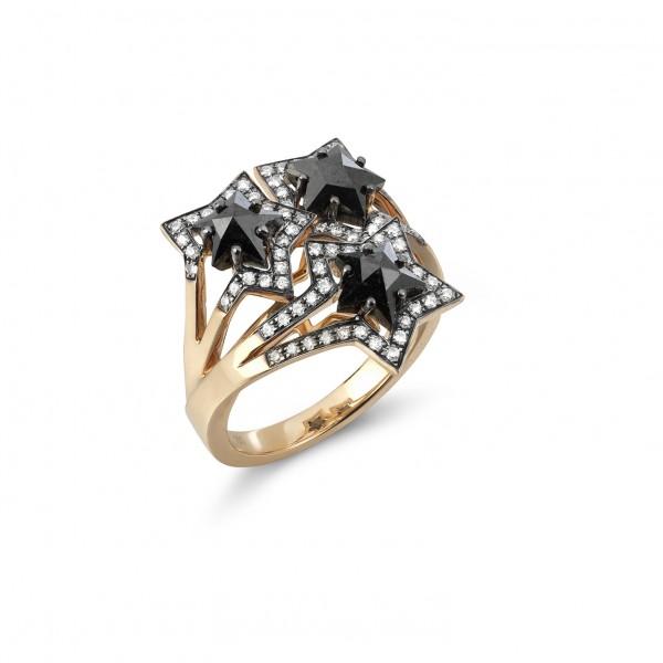 Black Three Star Ring